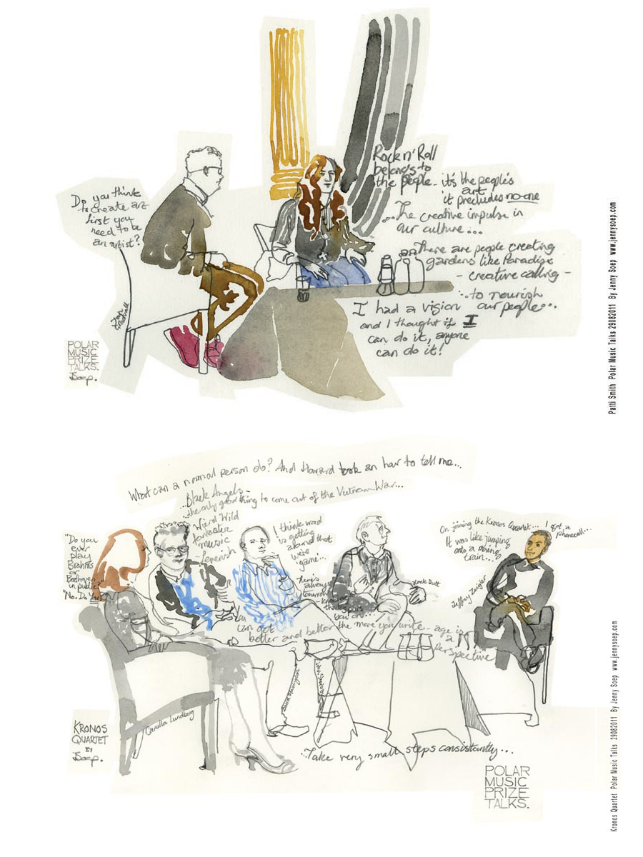 Polar Music Prize Talks: Drawing Patti Smith and the fantastic Kronos Quartet